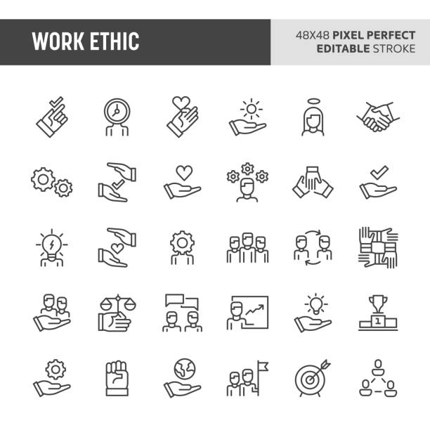 Work Ethic Vector Icon Set 30 thin line icons associated with employment and work ethic with symbols such as teamwork, morality, proficiency, optimism and empathy are included in this set. 48x48 pixel perfect vector icon with editable stroke. passion stock illustrations