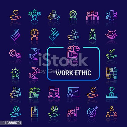 Simple gradient color icons isolated over dark background related to work ethics; Teamwork, morality, proficiency, optimism and empathy. Vector signs and symbols collections for website and app..