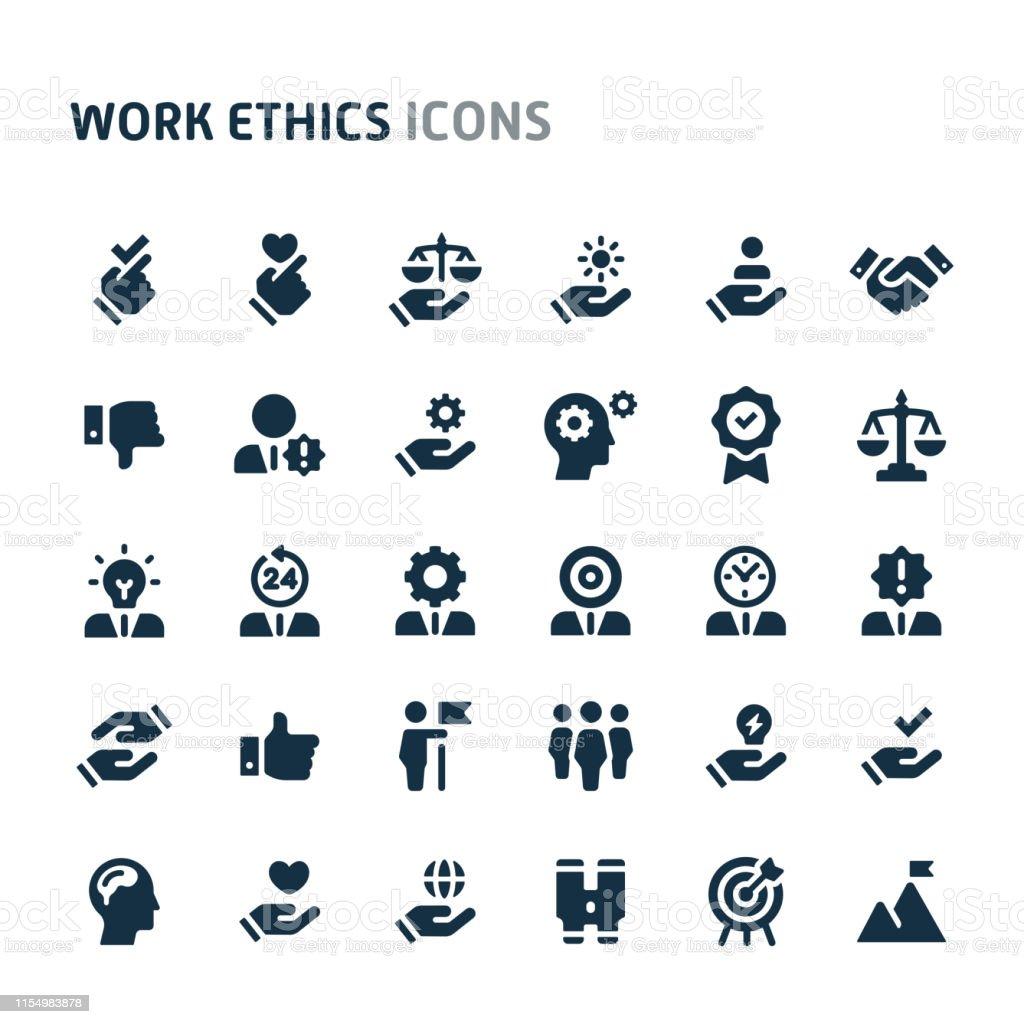 Work Ethics Vector Icon Set. Fillio Black Icon Series. - Grafika wektorowa royalty-free (Biuro)