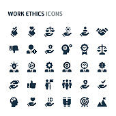 Simple bold vector icons related to employment and work ethic. Symbols such as teamwork, morality, proficiency, leadership and empathy are included in this set. Editable vector, still looks perfect in small size.
