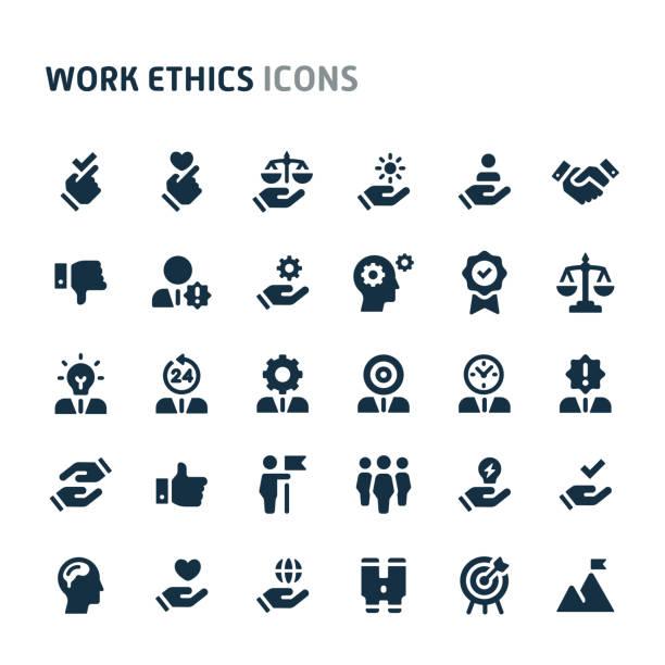 work ethics vector icon set. fillio black icon series. - fähigkeit stock-grafiken, -clipart, -cartoons und -symbole