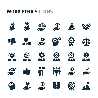 Work Ethics Vector Icon Set Fillio Black Icon Series - Stockowe grafiki wektorowe i więcej obrazów Biuro
