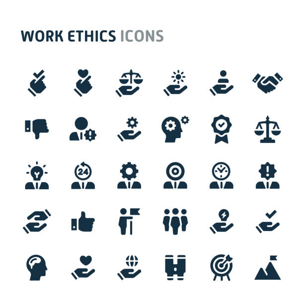 Work Ethics Vector Icon Set. Fillio Black Icon Series. Simple bold vector icons related to employment and work ethic. Symbols such as teamwork, morality, proficiency, leadership and empathy are included in this set. Editable vector, still looks perfect in small size. attitude stock illustrations