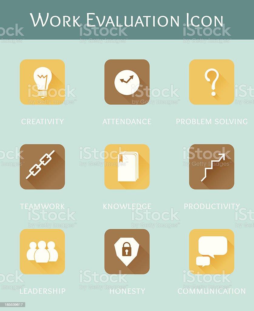 work evaluation business concept flat icon set vector art illustration