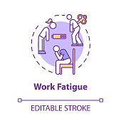 istock Work fatigue concept icon. Unhappy worker. Chronic exhaustion. Depressed person. Burnout symptom idea thin line illustration. Vector isolated outline RGB color drawing. Editable stroke 1248720112