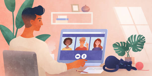 illustrazioni stock, clip art, cartoni animati e icone di tendenza di work from home. a business group meeting being held via a video conference call. remote work, online webinar, new normal. online technology concept vector illustration. - new normal