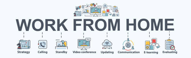 ilustrações de stock, clip art, desenhos animados e ícones de work from home banner web icon for business conference and freelancer, planning, meeting, strategy, remote, video call, communication and collaboration. minimal work at home vector infographic. - remote work