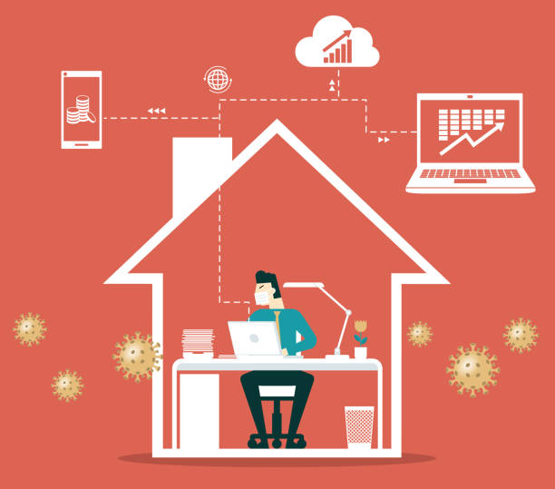 work from home- businessman - working from home stock illustrations
