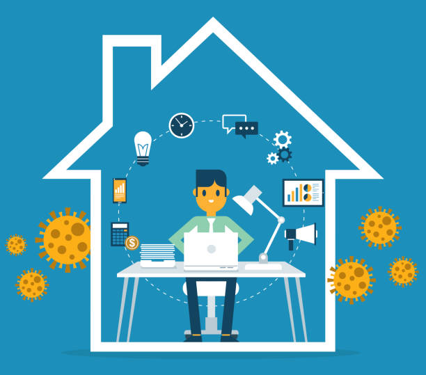 Work from home- Businessman vector art illustration