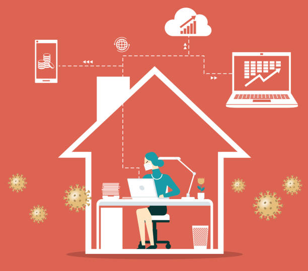 Work from home- Businesswoman vector art illustration