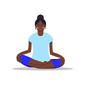 Work from home concept. Bare foot young girl doing yoga. Vector illustration. Flat cartoon style. African woman sitting on the floor in lotus position. Healthy lifestyle. For posters, interface design