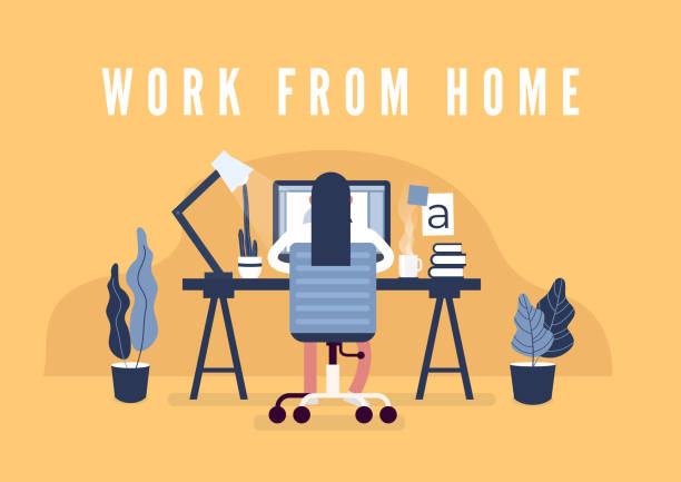 work from home concept. graphic design workspace. designers sitting on the desk. - working from home stock illustrations