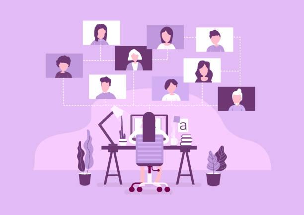 ilustrações de stock, clip art, desenhos animados e ícones de work from home concept. online working with colleagues. designers sitting on the desk. - teletrabalho