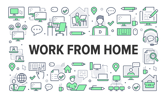 Work from home concept with line icons. Vector horizontal illustration included icon as freelance worker with laptop, workplace, pc monitor, business man green pictogram for remote job brochure