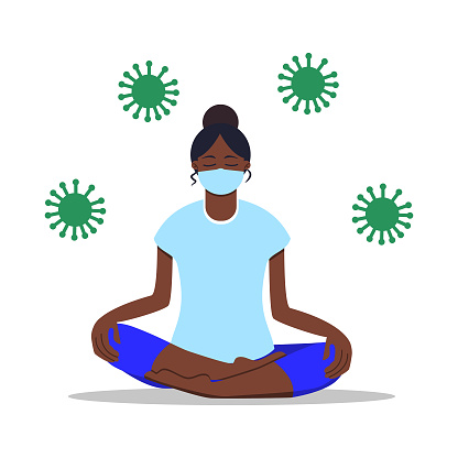 Work from home concept. Young girl doing yoga in mask. Social distancing during pandemia of coronavirus (COVID-19). Flat cartoon. African woman sitting on the floor in lotus pose. Healthy lifestyle.
