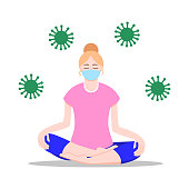 Work from home concept. Young girl doing yoga in mask. Social distancing during coronavirus (COVID-19) pandemic. Flat cartoon. Blonde woman sitting on the floor in lotus position. Healthy lifestyle.