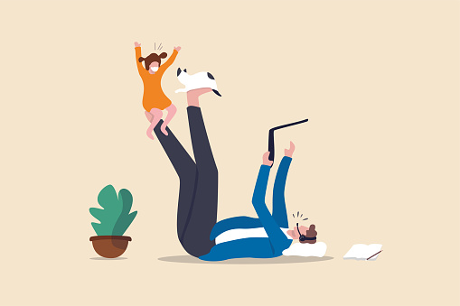 Work from home due to Coronavirus COVID-19 pandemic concept, businessman lay down working at home using laptop and headset for conference call meeting and take care his daughter child playing with cat