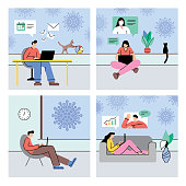 Set of people working at home during COVID-19 pandemic. Fully editable vectors on layers.