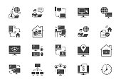 Work from home flat icons. Vector illustration included icon as freelance worker with laptop, workspace, pc monitor, business black silhouette pictogram for online job.