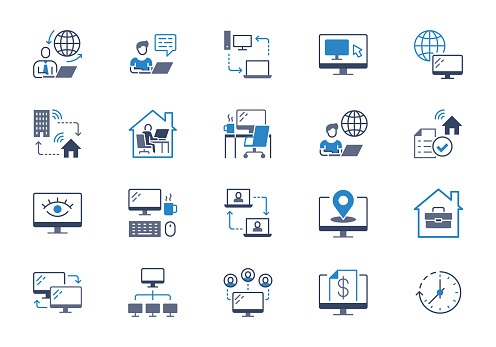 Work from home flat icons. Vector illustration included icon as freelance worker with laptop, workspace, pc monitor, business blue silhouette pictogram for online job