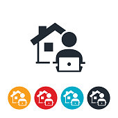 An icon of a person working on laptop with a house in the background. The icon represents working from home or telecommuting.