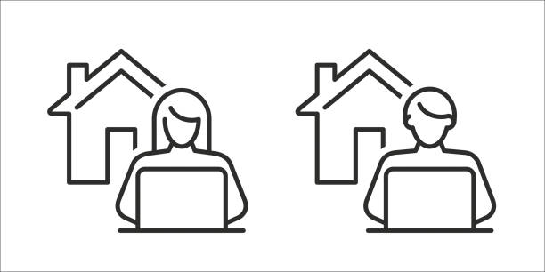 work from home icon - working from home stock illustrations