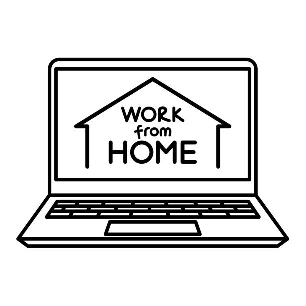 work from home icon/ working at home concept icon - working from home stock illustrations