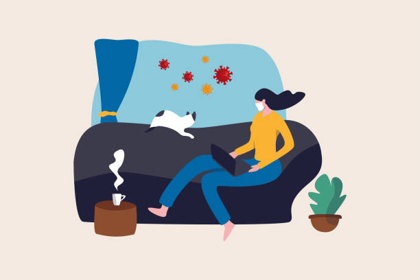 work from home in covid-19 virus outbreak, social distancing company allow employee work at home to prevent virus infection, young woman working on sofa with cat look outside to see virus pathogens. - working from home stock illustrations
