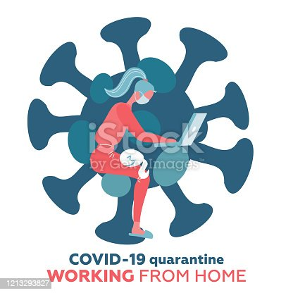 Work from home in COVID-19 virus outbreak, social distancing company allow employee work at home to prevent virus infection, young woman working with cat on the knees. Coronavirus shape isolated print