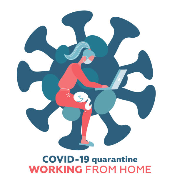 work from home in covid-19 virus outbreak, social distancing company allow employee work at home to prevent virus infection, young woman working with cat on the knees. coronavirus shape isolated print - working from home stock illustrations