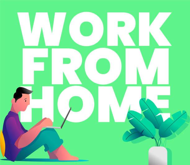 work from home in quarantine vector art illustration