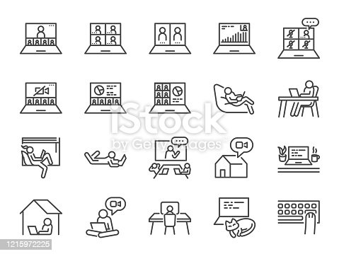 Work from home line icon set. Included icons as self quarantine, stay home, working, online,video conference, office and more.