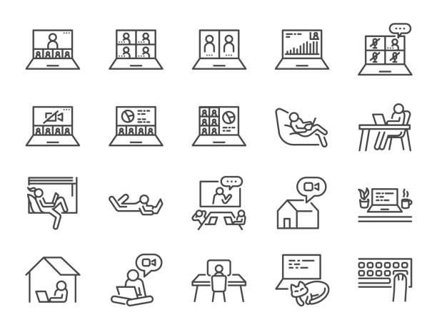 work from home line icon set. included icons as self quarantine, stay home, working, online, video conference, office and more. - virtual meeting stock illustrations