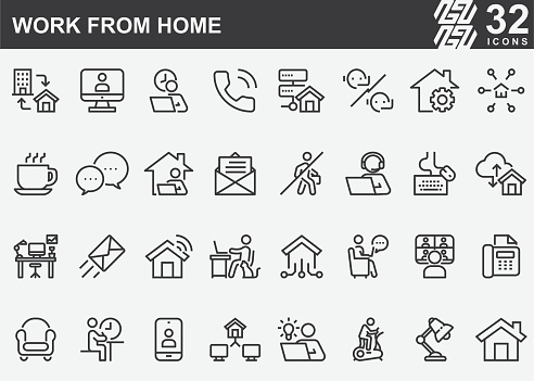 Work From Home Line Icons