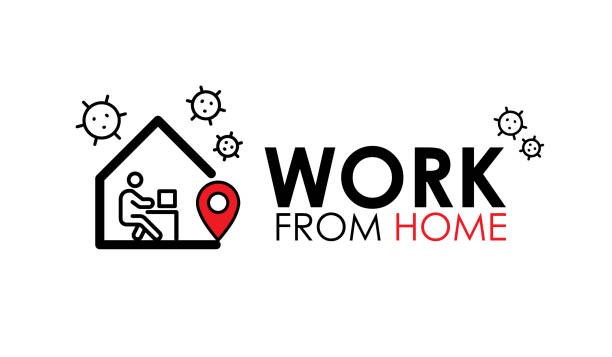 Work from home logo and line icon. work from home quote text is Coronavirus disease COVID-19 protection campaign logo, vector illustration vector art illustration