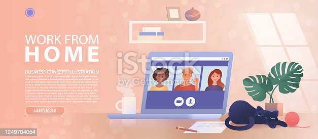 Work from Home, new normal concept. A business group meeting being held via a video conference call at home. Remote work, online webinar concept landing page. Conceptual vector illustration.