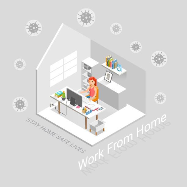 Arbeiten Sie von zu Hause aus schutzgeschützt vor Virenkonzept isometrisch. Vektor-Illustrationen. – Vektorgrafik