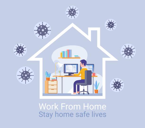 Arbeiten Sie von zu Hause aus Schutz vor Virenkonzept. Vektor-Illustrationen. – Vektorgrafik