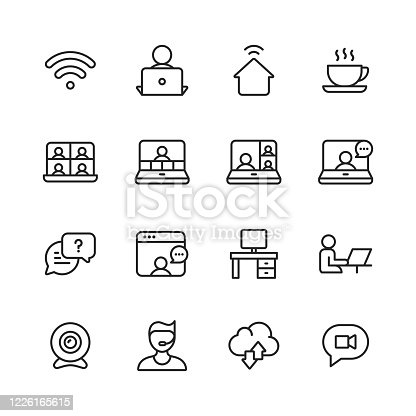 16 Work from Home, Remote Work Outline Icons. Wifi, Remote Work, Work from Home, Coffee, Video Chat, Video Conference, Business Meeting, Online Messaging, Video Call, Office Desk, Camera, Support, Cloud Computing.