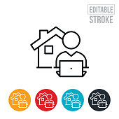 A icon of person on laptop with a house to represent working from home. The icon includes editable strokes or outlines using the EPS vector file.
