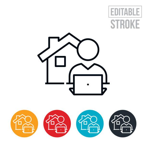 ilustrações de stock, clip art, desenhos animados e ícones de work from home thin line icon - editable stroke - teletrabalho