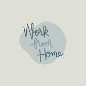 work from home type on green background