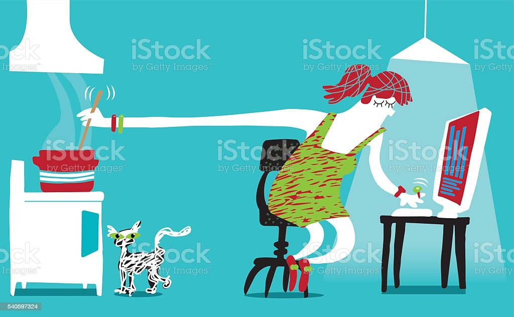 Work from home vector art illustration