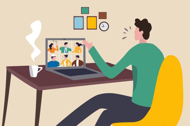coronavirus covid-19 pandemik kavramı sosyal uzaklık ekibi ile ev video konferans toplantısı çalışma, ofis adam evde sandalye konferans toplantısında dizüstü bilgisayarda ekip ile çalışan evde adam kalmak - home office stock illustrations
