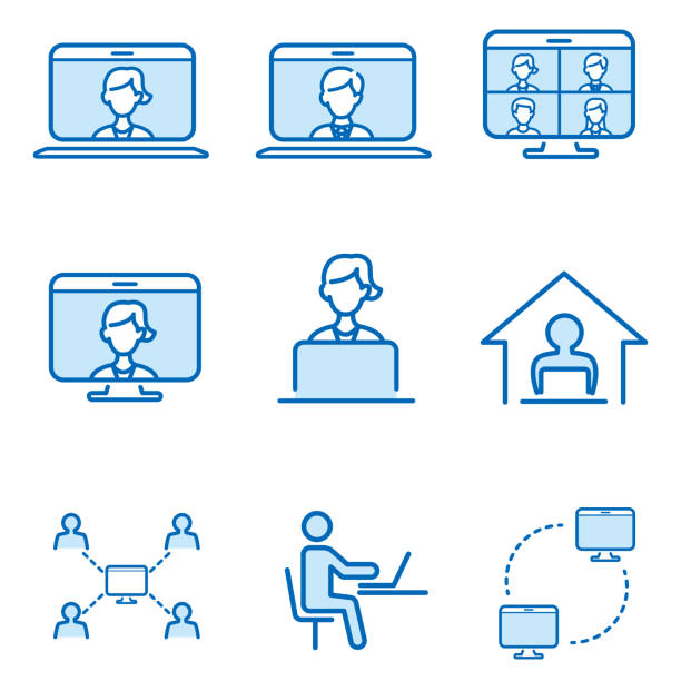 フラットな作業アイコンを持つ自宅での作業 - リモート点のイラスト素材/クリップアート素材/マンガ素材/アイコン素材