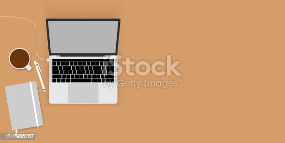 istock work from home, work space. flat lay topview. Work desktop top view, office desk table with laptop. 1212985257