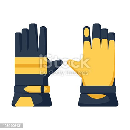 istock Work gloves isolated in flat style. Gardening yellow gloves for farming. Refractory hand protection. 1280906431