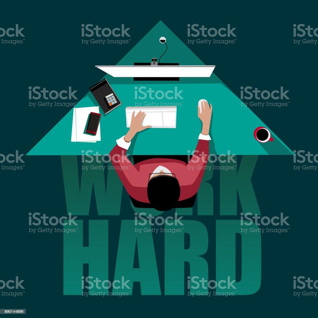 work hard concept: freelancer working at the computer till night vector art illustration