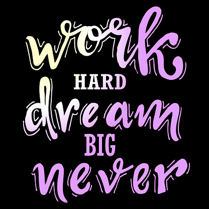 Work hard, dream big never, quotes