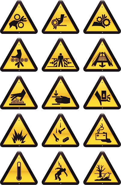 ilustrações de stock, clip art, desenhos animados e ícones de sinais de perigo de trabalho - na superfície